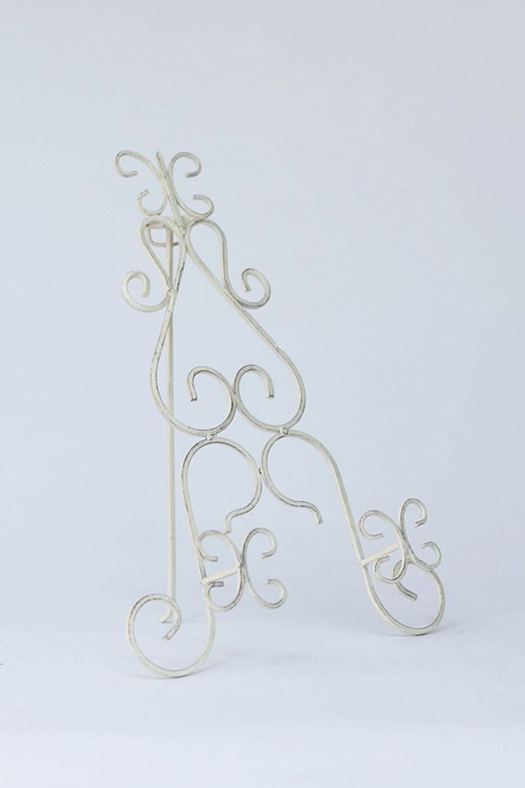 Cream Wrought Iron Table Easel