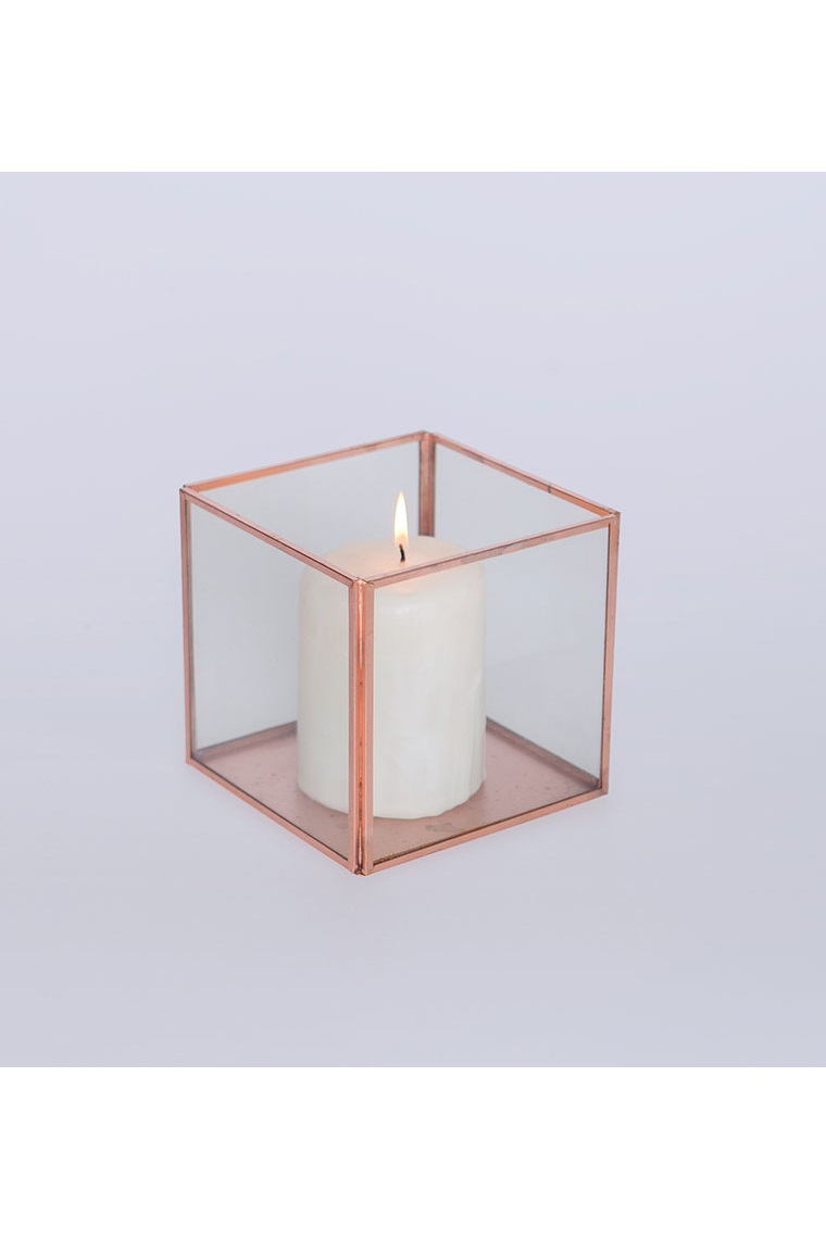 Large Rose Gold And Glass Tank Vase