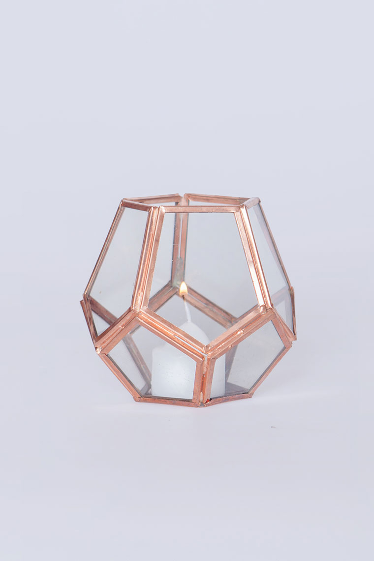 Small Geo Rose Gold Lantern