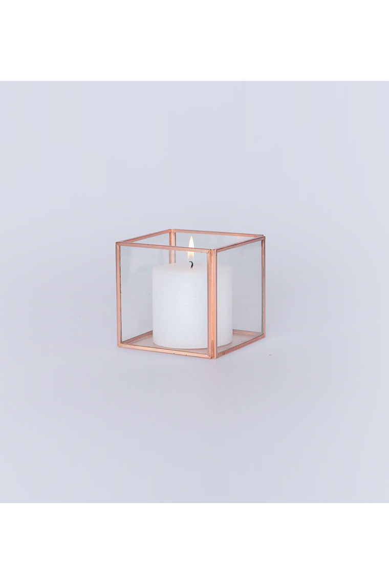 Small Rose Gold And Glass Tank Vase
