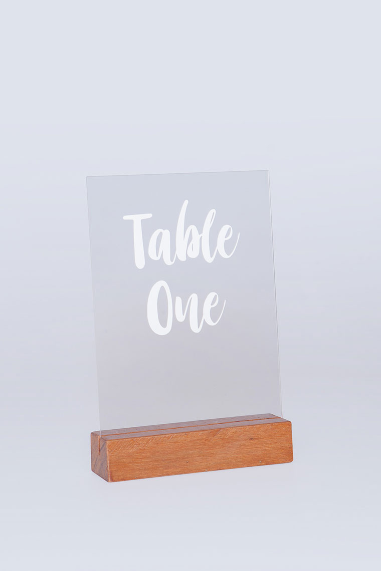 Wooden Base And Perspex Table No