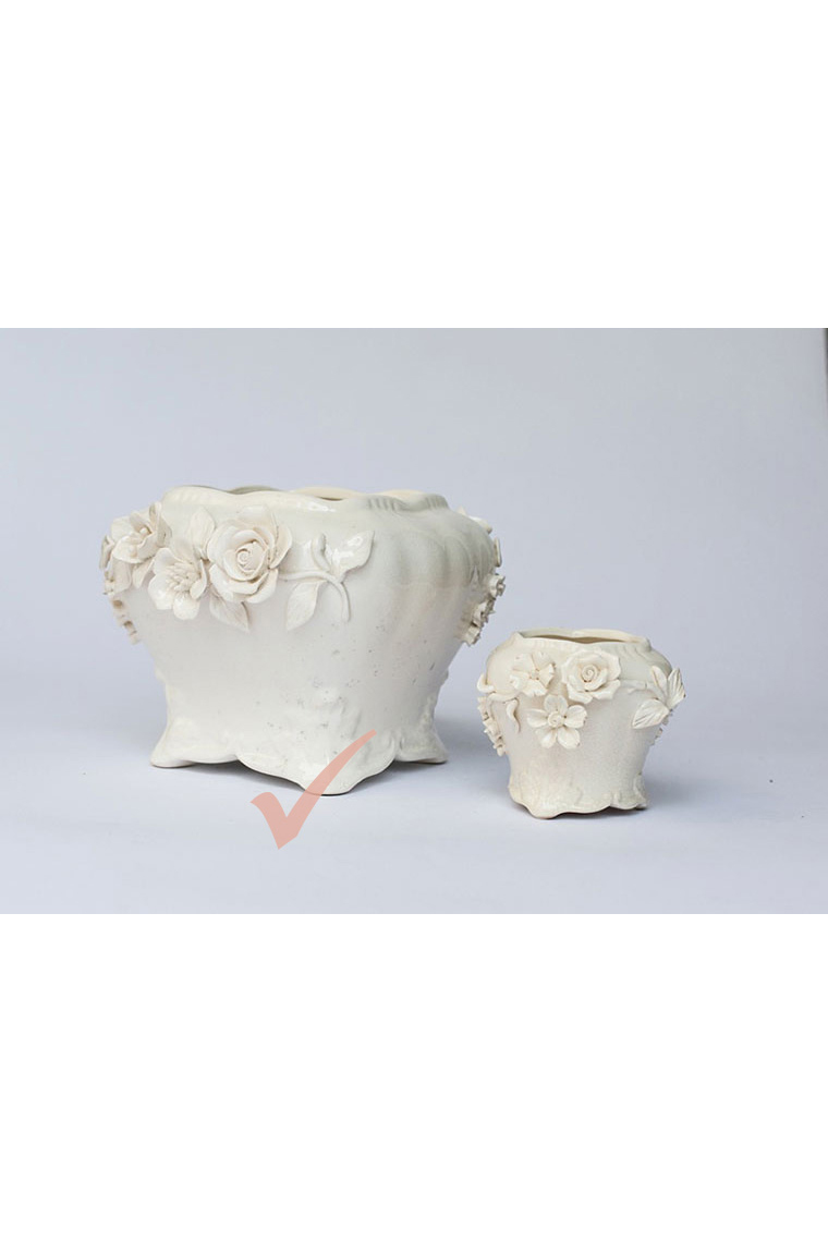 Large Cream China With Roses