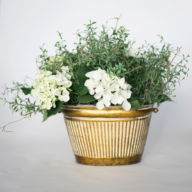 Gold with White Stripe Vase