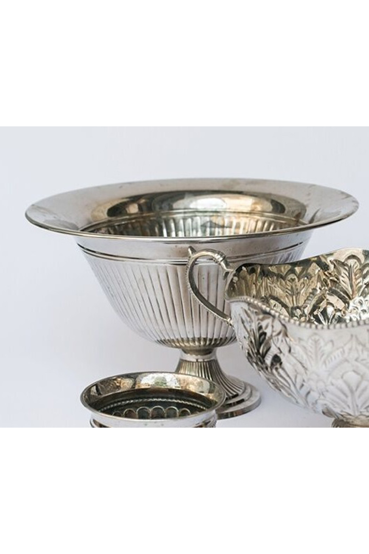 Large Silver Fluted