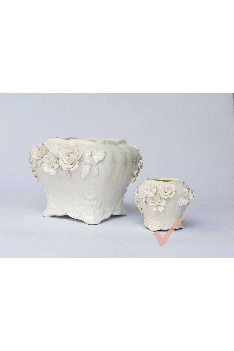 Small Cream China With Roses