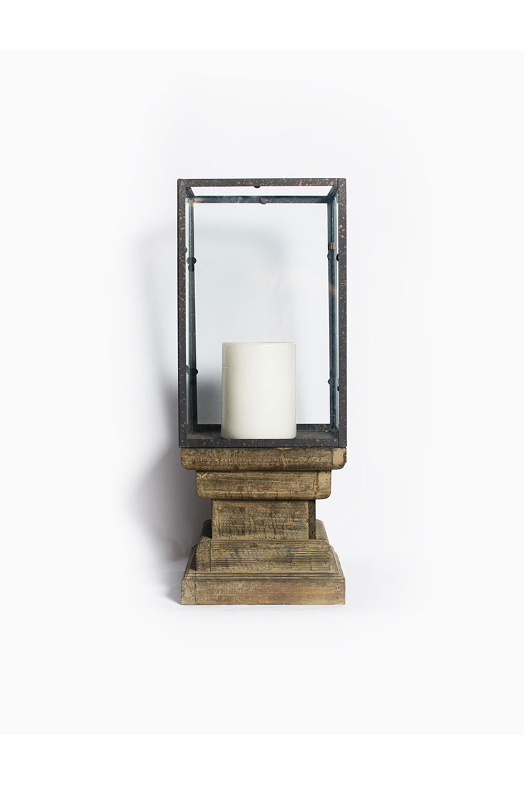 Square Wooden And Glass